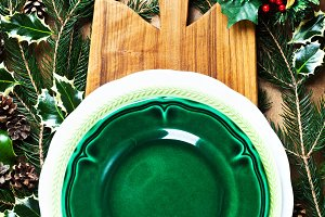 Christmas Background and empty plate