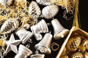 silver and gold Christmas toys
