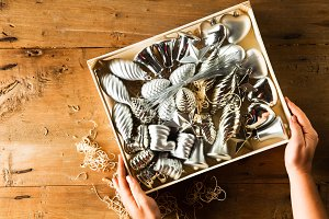 silver Christmas toys in box