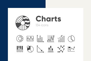 Charts line and solid icons