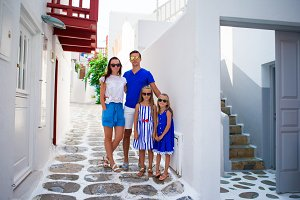 Family vacation on Mykonos Island, in Greece