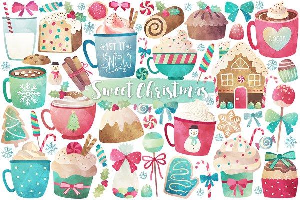 Watercolor Christmas Treats & Sweet…