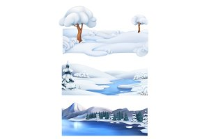 Winter landscape. Vector banner set