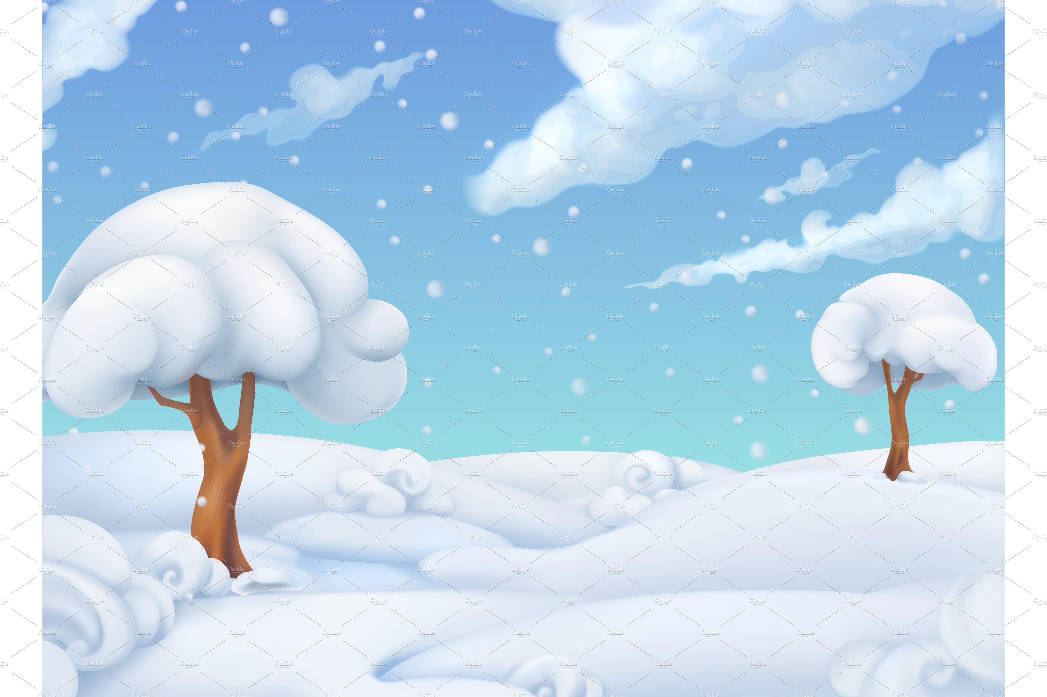 Winter Landscape Vector Illustration Illustrations