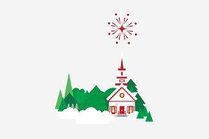 Vector Winter Christmas Scene