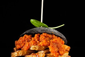 italian Black Burger with sausages