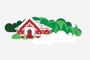 Vector Christmas House Scene