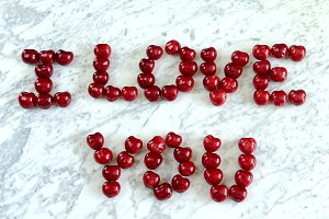 The inscription of cherry I love you