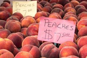 Bin of Fresh Peaches