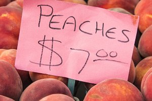 Fresh Peaches and Sign