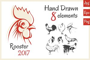 Rooster 2017. Hand Drawn 8 elements.