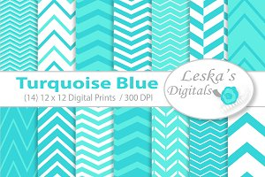 Turquoise Blue Digital Chevrons