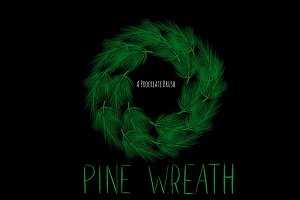 Pine Wreath Procreate brush