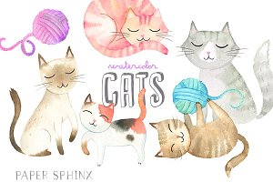 Watercolor Cats Graphic Pack