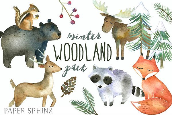Winter Woodland Watercolor Pack