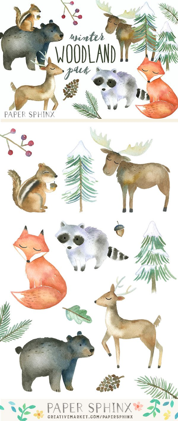 Winter Woodland Watercolor Pack Illustrations Creative
