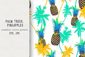 Palm trees,pineapples pattern