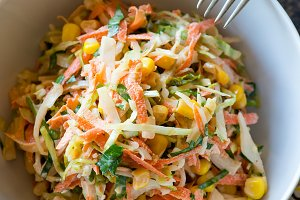 Fresh cabbage, corn and carrot coleslaw salad