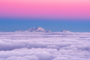 Pink sunset in the mountains