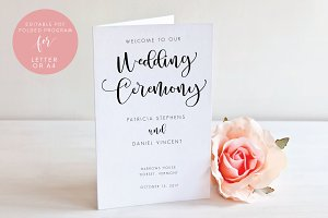 Wedding Folded Program -Editable PDF