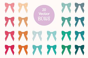 Ribbon Bows Vector Clipart Set