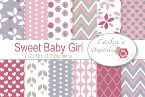 Sweet Girly Digital Paper Pack