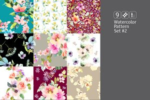 9 watercolor seamless patterns #2