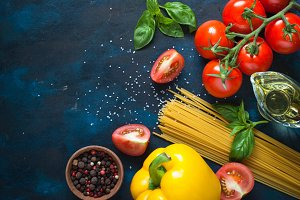 Ingredients for cooking Italian pasta