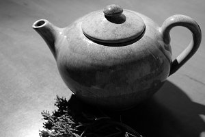 Tea pot with sprigs of lavender