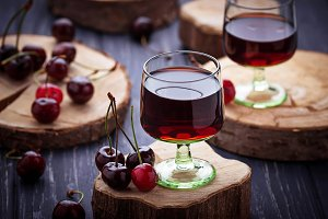 Glasses of cherry liquor
