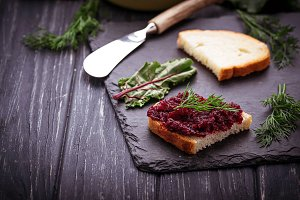Beetroot caviar and toast.