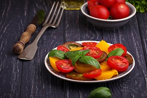 Colorful tomatoes salad