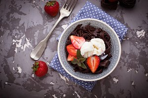 Chocolate pasta with strawberry