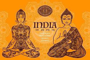 India Symbols Sketch Set