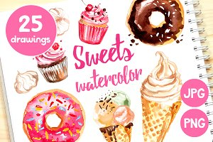 Sweets: ice cream, donuts, cupcakes
