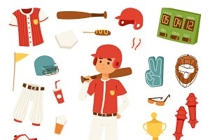 Cartoon baseball vector player icons