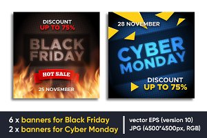 Cyber Monday and Black Friday banner