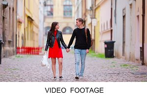 Romantic couple tourist enjoy Europe