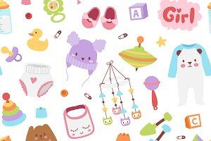 Vector baby sticker seamless pattern
