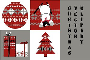 Christmas Set Clipart vector