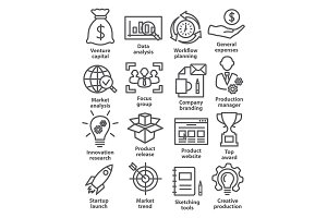 Startup business icons in line style