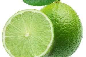 Lime with half on a white