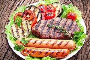 Grilled steak,sausages
