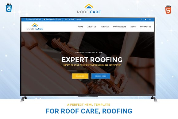 roofcare html template for roofing website templates creative market
