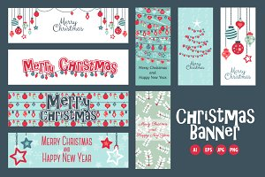 Set of 8 Christmas web banners