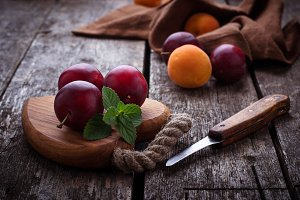 Sweet plums and apricots