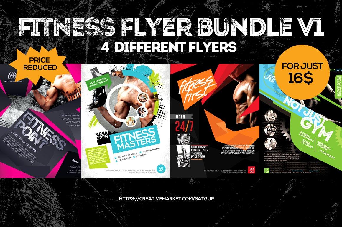 Fitness Gym Flyers Bundle V1 Flyer Templates Creative