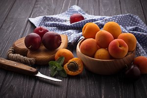 Sweet apricots and plums