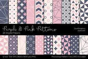 Purple & Pink Digital Papers
