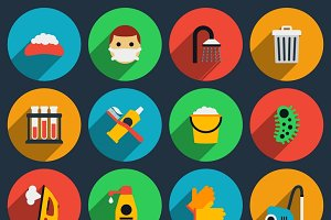 Hygiene and sanitation icons set